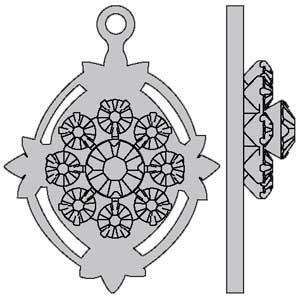 Swarovski Metal Buttons and Filigrees 62012