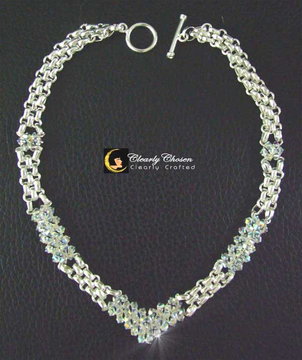 Silver Look necklace with Swarovski