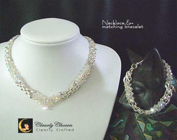 Silver Look jewelry set with Swarovski