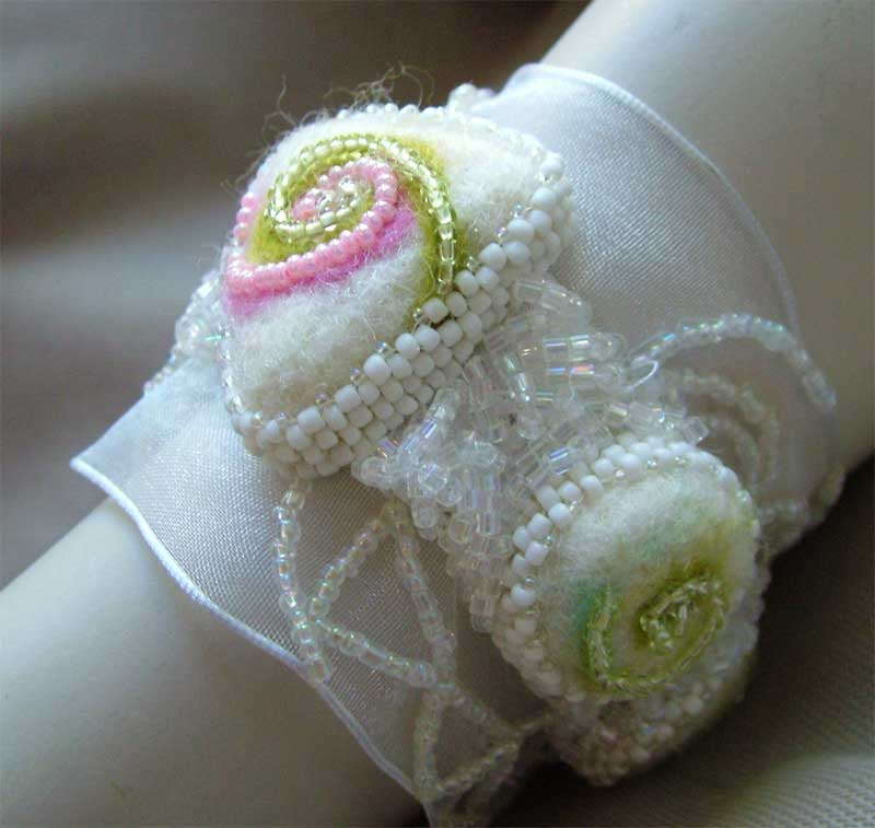 Bridal Felt and Lace cuff