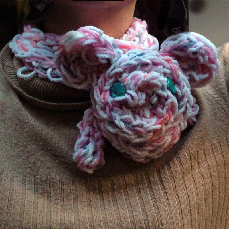 Finger Knitting Necklet Scarves