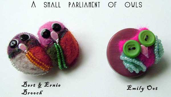 Bert and Ernie felted brooch