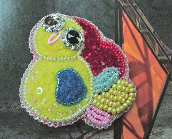 Sunshine beaded felted brooch