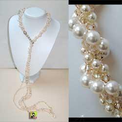 Swarovvki - crochet beaded necklace