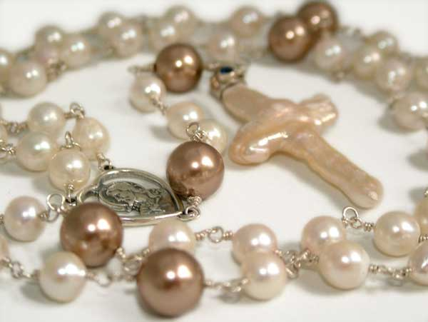 handmade rosary in akoya pearls