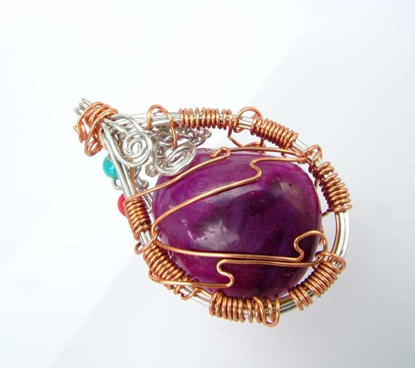 wire wrapped gemstone jewelry pendant