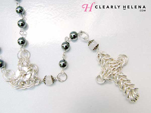 Hematite and Moonstone handmade rosary