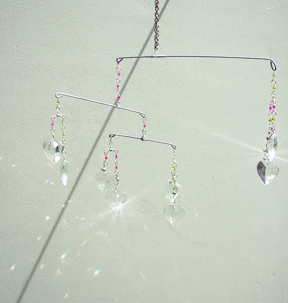 Mobile Suncatcher with Heart Crystals