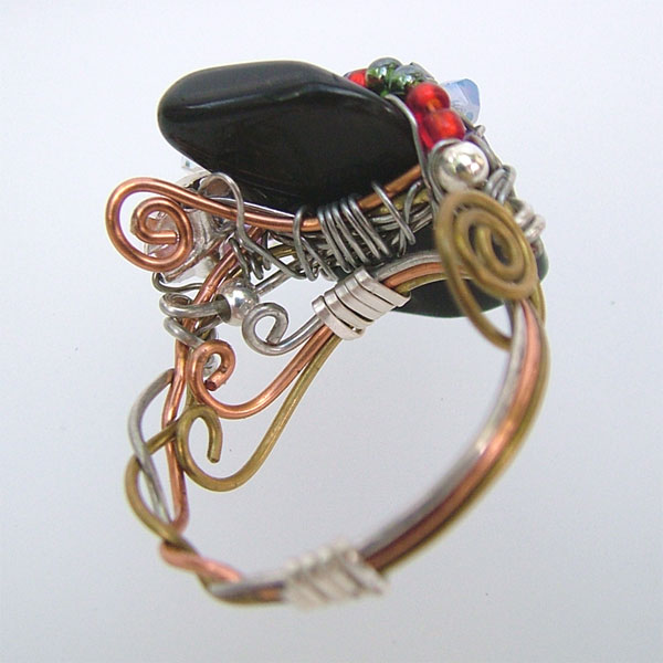 Black Onyx Wire Wrapped Jewelry Ring