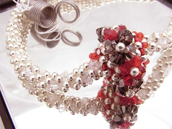 crochet beaded necklace with Swarovski