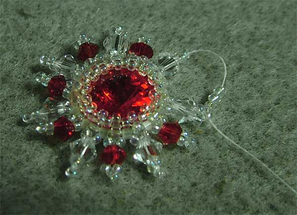 Red Sun earrings with Swarovski Rivoli