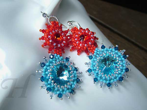 Fire and Water rivoli Swarovski earrings