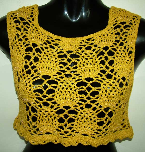 Beaded Pineapple Open Crochet work crop top