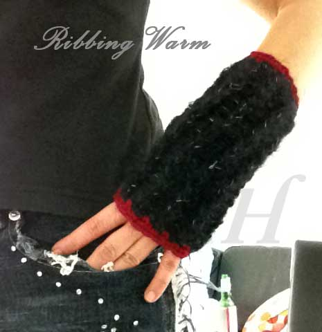 Ribbing Warm Crochet Fingerless Gloves Hand Warmers