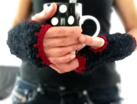 Ribbing Warm Crochet Fingerless Gloves Hand Warmers