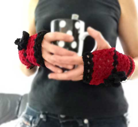 Lacy Warm Crochet Fingerless Gloves Hand Warmers
