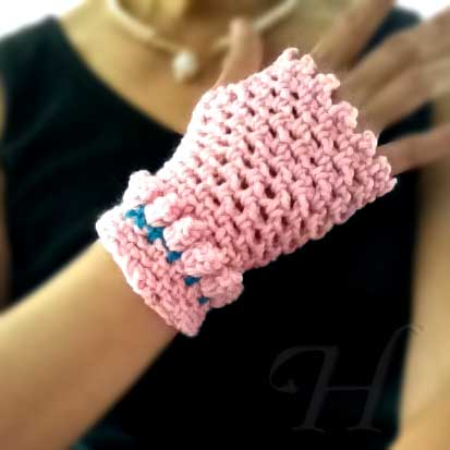 Pink Baubles Crochet Fingerless Gloves Hand Warmers