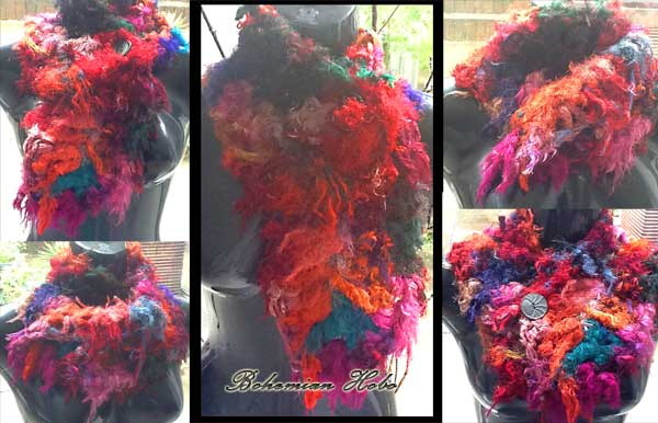 Bohemian Hobo handmade scarf or neckwarmer