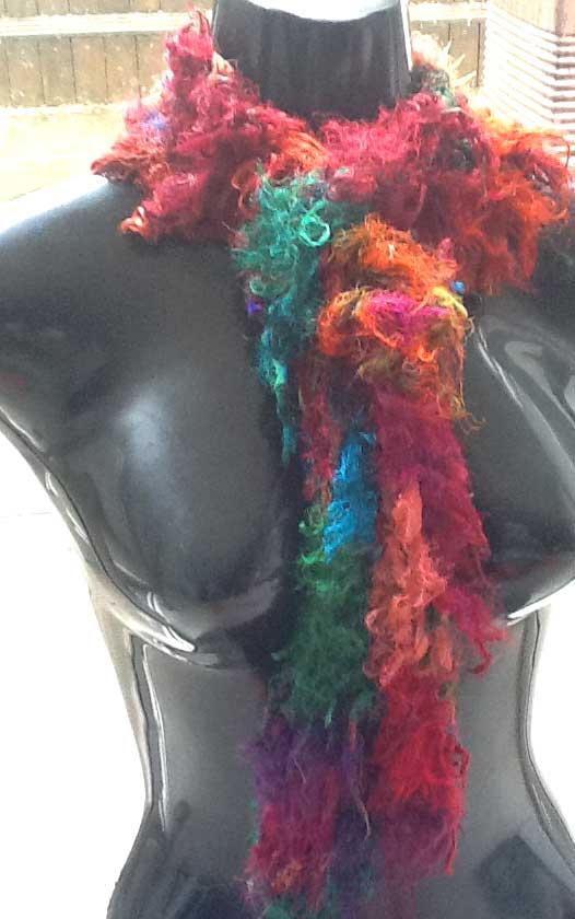 Long Bohemian Scarf from Sari Ribbon Yarn