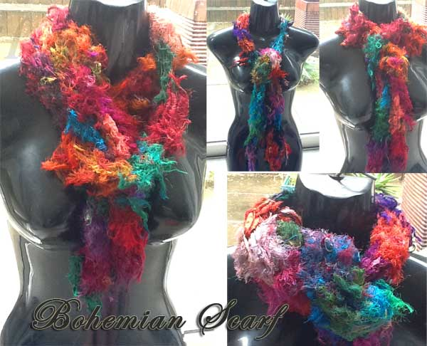 Long Bohemian Scarf from Sari Ribbon Yarn