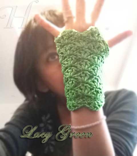 Lacy Green Crochet Fingerless Gloves Hand Warmers