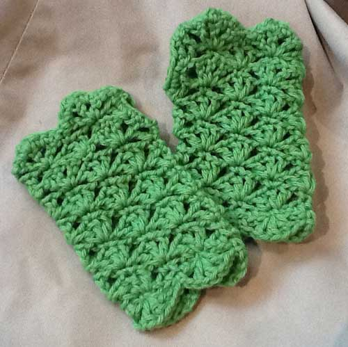 Lacy Green Crochet Fingerless Gloves Hand Warmers