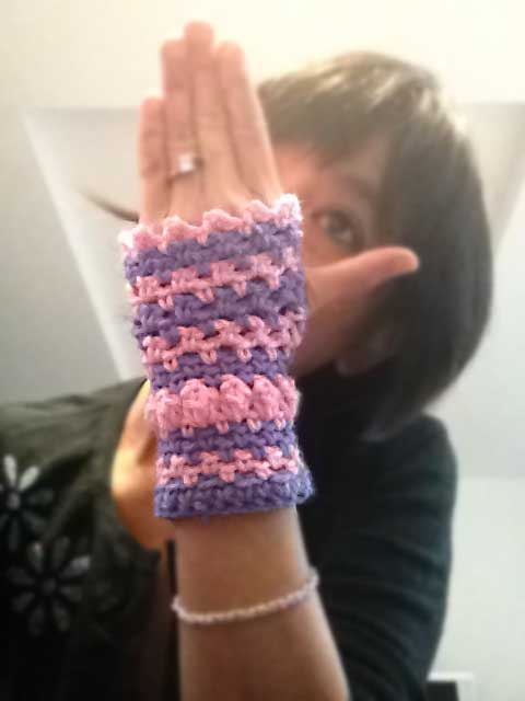 Stripes and Baubles Crochet Fingerless Gloves Hand Warmers