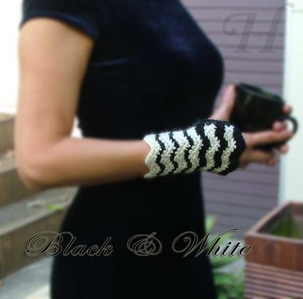 Black and White Crochet Fingerless Gloves Hand Warmers