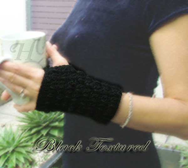 Black Textured Crochet Fingerless Gloves Hand Warmers