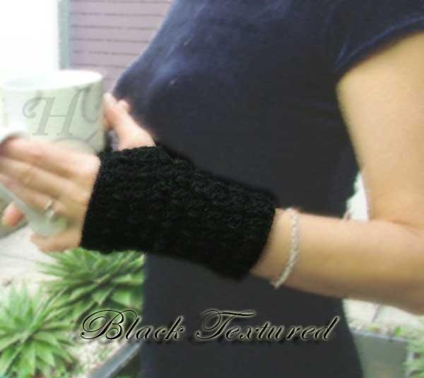 Black Textured Crochet Fingerless Gloves Hand Warmers