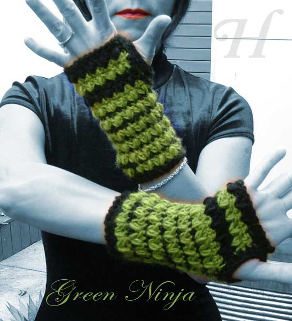 Green Ninja Crochet Fingerless Gloves Hand Warmers