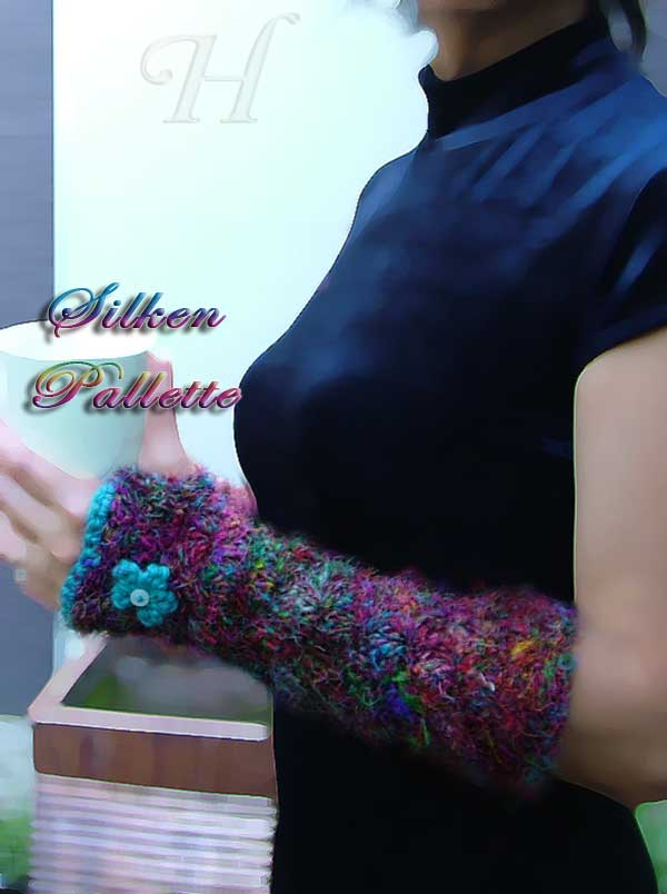 Silken Pallette Crochet Fingerless Gloves Hand Warmers