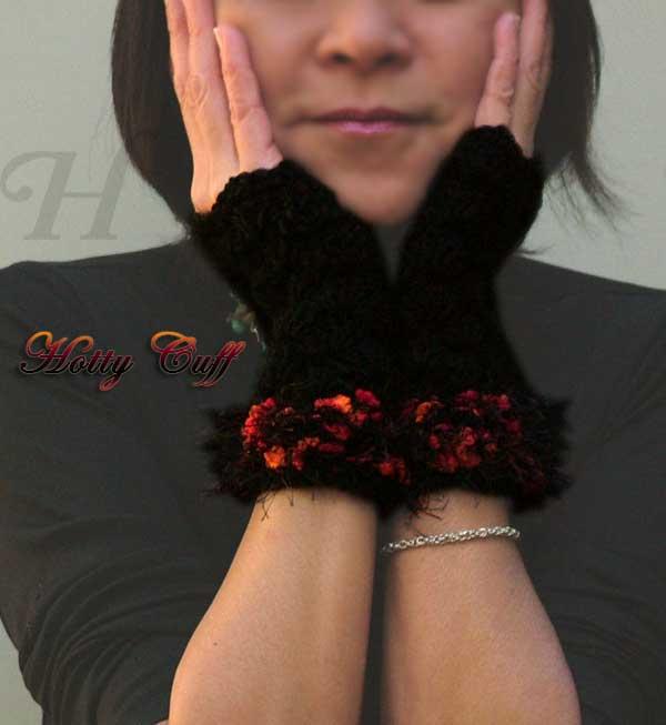 Hottie Cuff Crochet Fingerless Gloves Hand Warmers