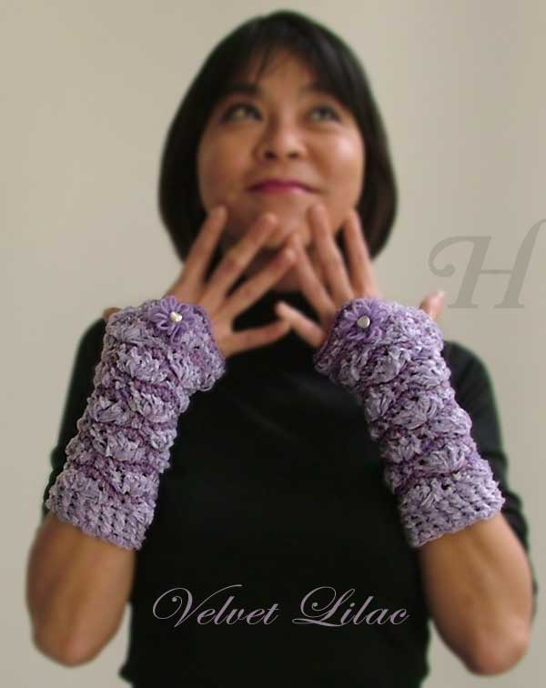 Velvet Lilac Crochet Fingerless Gloves Hand Warmers