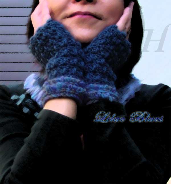 Velvet Blues Crochet Fingerless Gloves Hand Warmers