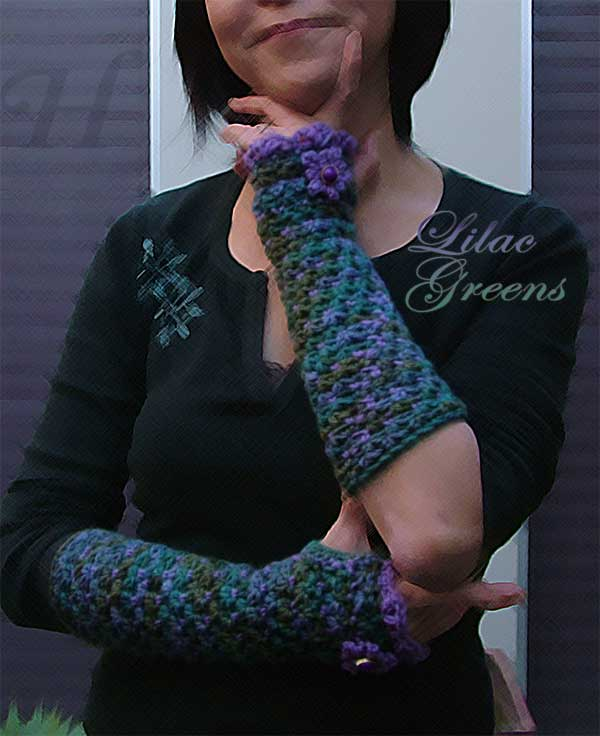 Lilac Greens Crochet Fingerless Gloves Hand Warmers