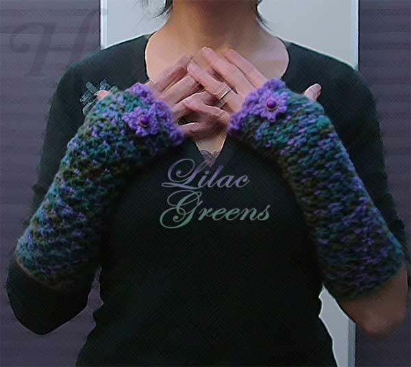 Lilac Greens Crochet Fingerless Gloves Hand Warmers