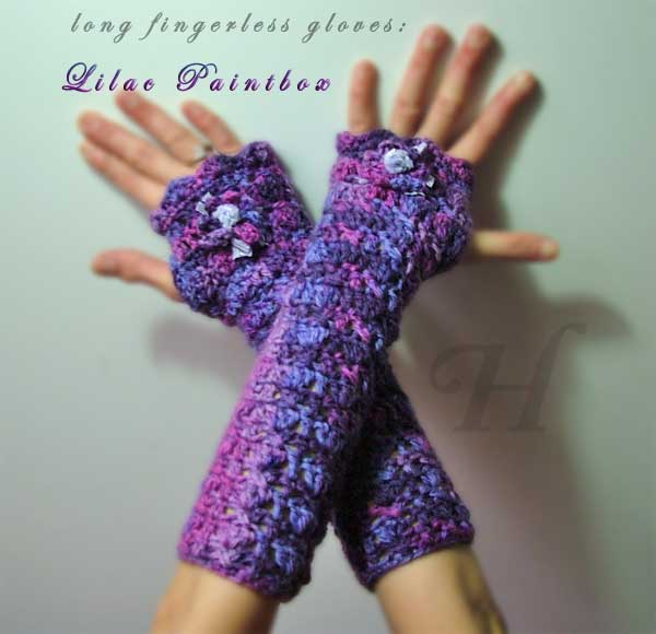 Lilac Paintbox Crochet Fingerless Gloves Hand Warmers