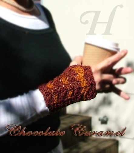 Chocolate Caramel Crochet Fingerless Gloves Hand Warmers