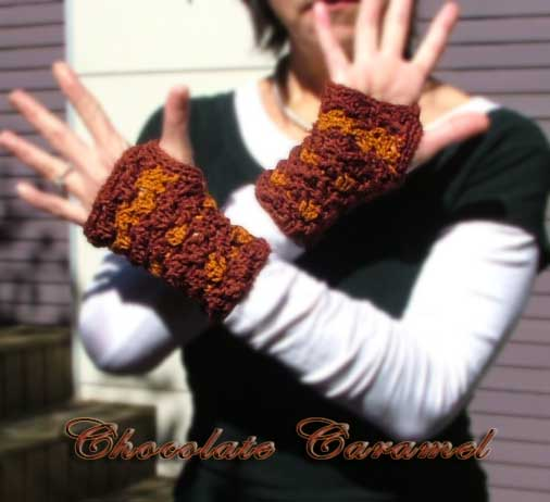 Chocolate Caramel Crochet Fingerless Gloves Hand Warmers