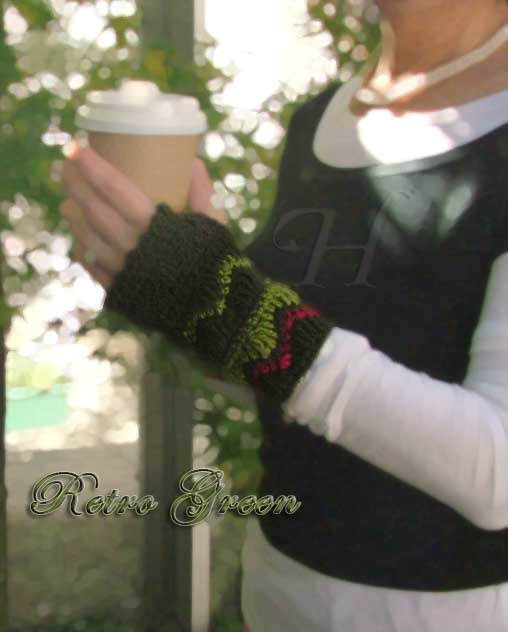Retro Green Crochet Fingerless Gloves Hand Warmers