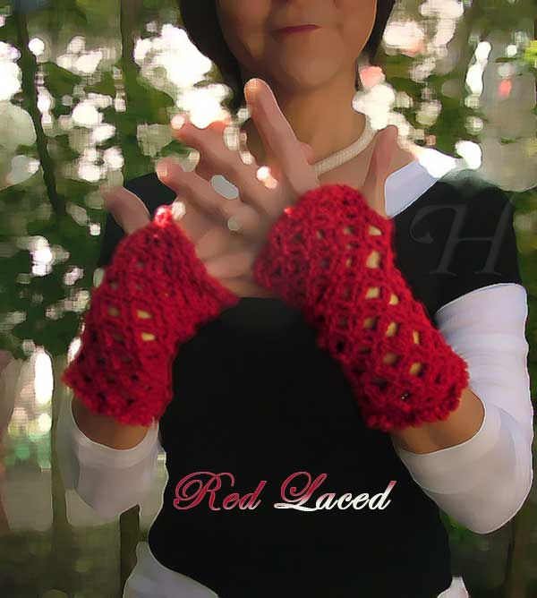 Red Laced Crochet Fingerless Gloves Hand Warmers