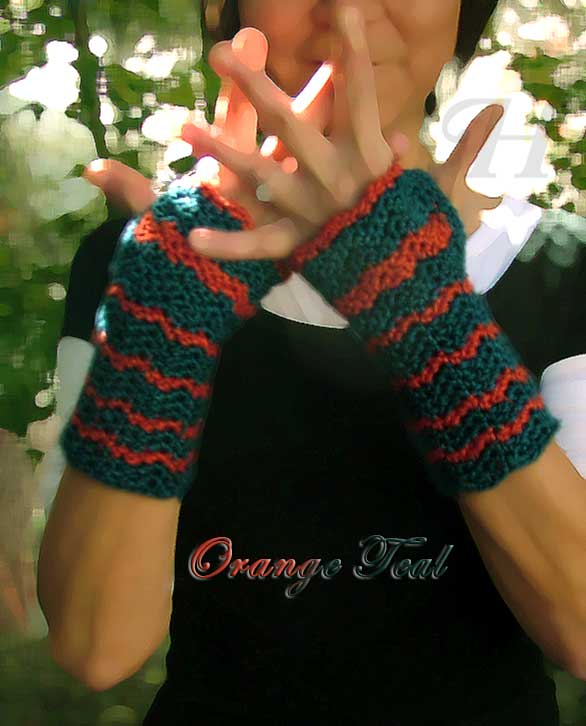 Orange Teal Crochet Fingerless Gloves Hand Warmers