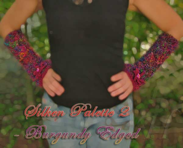 Silken Palette 2 Crochet Fingerless Gloves Hand Warmers