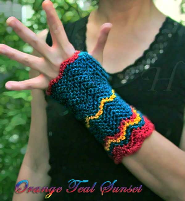 Orange Teal Sunset Crochet Fingerless Gloves Hand Warmers