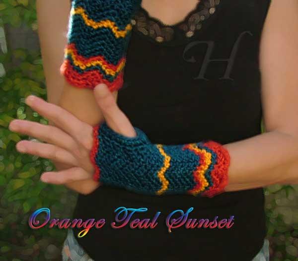 Orange Teal Sunset Crochet Fingerless Gloves Hand Warmers