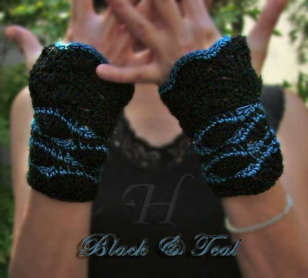 Black and Teal Crochet Fingerless Gloves Hand Warmers