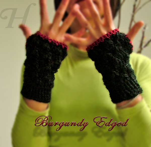 Burgundy Edged Crochet Fingerless Gloves Hand Warmers