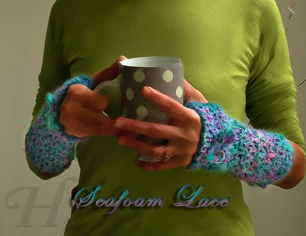 Seafoam Lace Silk Crochet Fingerless Gloves Hand Warmers