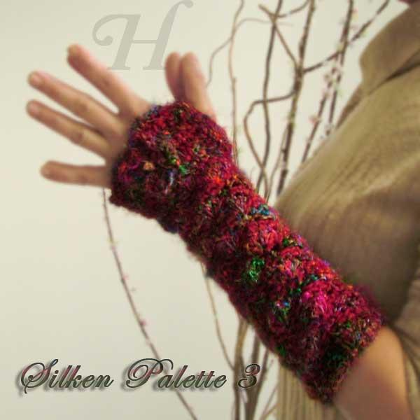 Silken Pallette Crochet Fingerless Gloves Hand Warmers